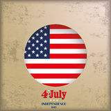 Vintage Background 4th July US Flag. Vintage independence day background design with brown colors and US-Flag Royalty Free Stock Images