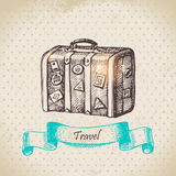 Vintage background with travel suitcase. Hand drawn illustration Royalty Free Stock Photography