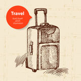 Vintage background with travel suitcase Royalty Free Stock Photo