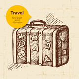Vintage background with travel suitcase Stock Images