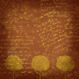 Vintage background - trees abstraction. Vintage background - Abstract figure yellow and brown color. Handwriting Royalty Free Stock Photos