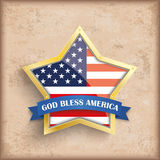 Vintage Background USA Golden Star. Vintage independence day background design with brown colors and US-Flag golden star Vector Illustration