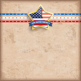 Vintage Background USA Golden Star Stripes. Vintage independence day background design with brown colors and US-Flag golden star Royalty Free Stock Photography
