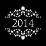2014 vintage background. Vector 2014 black and white vintage background Stock Photo