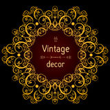 Vintage background, vector gold ornamental round frame Stock Photo