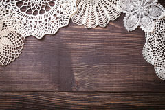 Vintage background with white crochet lace. Knitted frame for wedding and invitation. Background for valentines day or birthday stock image