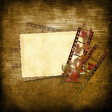 Vintage Background With Film Strip And Card Stock Image