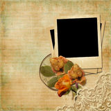 Vintage Background With Polaroid-frame And Faded Roses Stock Photography