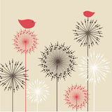 Vintage Background With Red Birds And Flowers Stock Images