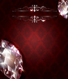 Vintage backgrounddiamonds. Vintage red background with ornaments and diamonds Royalty Free Stock Images