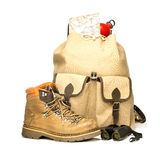 Vintage backpack with hiking boots, map and bottle Stock Photo