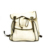 Vintage backpack made of canvas. Vintage backpack made of canvas,  on white Stock Image