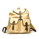 Vintage backpack made of canvas. Vintage backpack made of canvas,  on white Stock Images