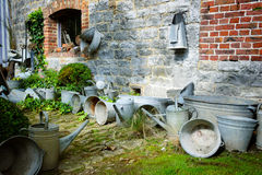 Vintage backyard with gardening tools Royalty Free Stock Images