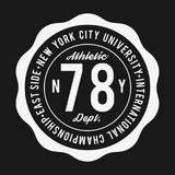 Vintage badge, athletic sport typography for t shirt print. Varsity style. T-shirt graphic Stock Photography