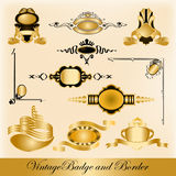 Vintage badge and border. Editable vintage gold badge and border easy to use and add or remove Royalty Free Stock Images