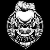 Vintage Badge Hipster Skull Beard Vector Hair Gentleman Tattoo Urban Fashion stock illustration