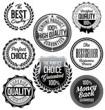 Vintage Badges. Black and White. Best Quality. Premium Quality. Set of Vintage Badges. Black and White Premium Quality. Money Back Stock Image