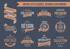 Vintage badges and insignias. Vintage vector insignias, badges and ribbons. EPS10, text outlined Stock Photo