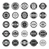 Vintage badges and labels icons set, simple style. Vintage badges and labels stamp icons set. Simple illustration of 25 vintage badge and label stamps vector Royalty Free Stock Photos