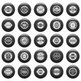 Vintage badges and labels icons set vetor black. Vintage badges and labels stamp icons set. Simple illustration of 25 vintage badge and label stamps vector icons Stock Photos