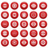 Vintage badges and labels icons set vetor red. Vintage badges and labels stamp icons set. Simple illustration of 25 vintage badge and label stamps vector icons Stock Images