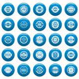 Vintage badges and labels vector icons set blue, simple style. Vintage badges and labels stamp icons set blue. Simple illustration of 25 vintage badge and label Royalty Free Stock Photo