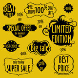 Vintage badges, stickers, labels. Creative graphic design elements. Unique shapes. Isolated on yellow background Royalty Free Stock Images
