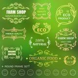 Vintage badges. Vector set of vintage badges and monogram. Farm shop and natural food Stock Photos