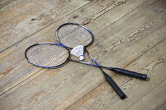 Vintage badminton racquet. Vintage badminto racquets with shuttlecock Royalty Free Stock Photo