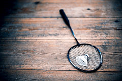 Vintage badminton racquet. Vintage badminto racquets with shuttlecock Stock Photos