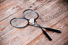 Vintage badminton racquet. Vintage badminto racquets with shuttlecock Stock Photography