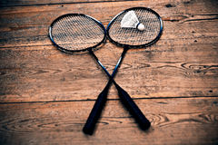 Vintage badminton racquet. Vintage badminto racquets with shuttlecock Royalty Free Stock Images