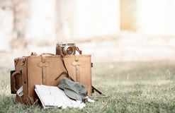 Vintage bag and equipment traveler on grass Royalty Free Stock Photography