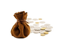 Vintage bag money. Vintage brown suede bag isolated money Royalty Free Stock Image