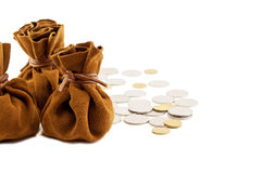 Vintage bag money. On hand with coins isolated Stock Photo