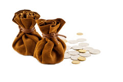 Vintage bag money. On hand with coins isolated Royalty Free Stock Images