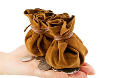 Vintage bag for the money. Vintage bag of money on hand with coins isolated royalty free stock images