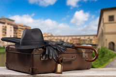 Vintage Baggage in front of the famos Ponte Vecchio in Florence Stock Photography