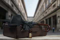 Vintage Baggage in front of the famos Uffizi in Florence Stock Photos