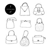 Vintage bags, clutches and purses ink set. Hand drawn vector illustration. Elegant and trendy vector illustration