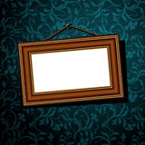 Vintage baguette frame. White baguette frame on the blue ornate background, this illustration may be useful as designer work Royalty Free Stock Photography