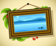 Vintage baguette frame. With leaves and landscape, this illustration may be useful as designer work royalty free illustration