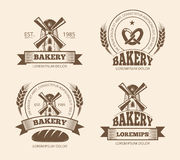 Vintage bakery and bread shop logos labels badges emblems. Bakery logo for shop, emblem with windmill for bakery. Vector illustration vector illustration