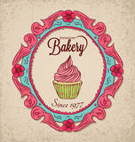 Vintage Bakery. With frame and cupcake Stock Images