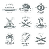 Vintage Bakery Label Set. Gray and isolated vintage bakery label set with best quality carter baker and fresh best bakery descriptions vector illustration Stock Images
