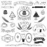 Vintage Bakery Labels element set.Hand sketched Royalty Free Stock Photos