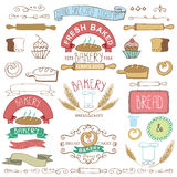Vintage Bakery Labels elements.Hand sketched Royalty Free Stock Image