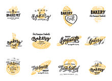Vintage bakery lettering set. Vector color hand drawn vintage engraving illustration. Royalty Free Stock Photo