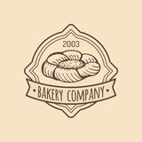 Vintage bakery logo. Vector typographic poster. Retro emblem sweet cookie. Hipster pastry icon. Biscuit sign. Royalty Free Stock Image